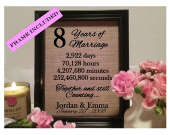 Framed 8th Anniversary Gift | 8th Wedding Anniversary Gifts | Personalized 8th Anniversary Gift | Anniversary Gift for Wife Husband