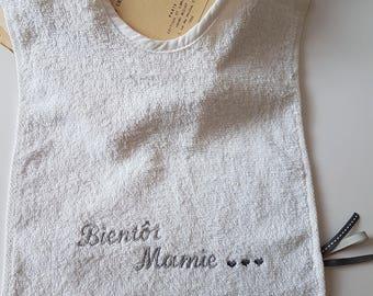 """Bib announcement pregnancy """"Soon Grandma"""" 100% cotton embroidered in gray"""