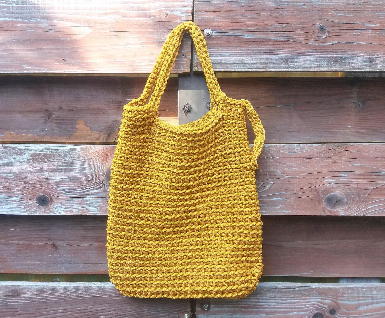 Mustard bags Rope basket bag Handmade bag Crochet bag Market