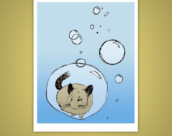 Bubbly Chinchilla, Bubbles, Floating 8x10 Giclee Art Print, Illustration, Home Decor, Pets, Weird, Quirky, Velvet Matte Finish