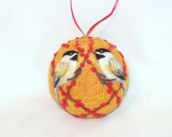Needle Felted Christmas Ornaments Chickadee Birds Gold - Bird Ornaments - Bird on Berry Bush - Felt Christmas Ornament Gift Item