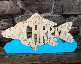 Carpy Carp Fish Puzzle Wooden Animal Art Toy  Hand Cut  with Scroll Saw