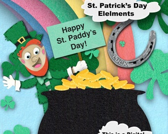 Digital, Saint Patrick Day,Felt,download, Rainbow ,PNG,leprechaun,Clouds,lucky, green, sales, cute, Irish, build your own, sky,multi color
