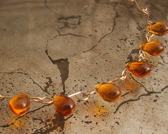 Amber Orange Glass Teardrop Necklace 14k gold fill chain