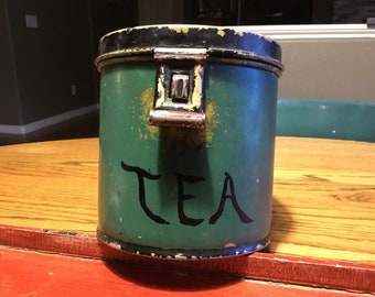 Vintage Painted Tea Canister