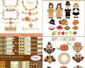 50%OFF Thanksgiving clipart, digital frames, labels and digital papers bundle for commercial use P 333