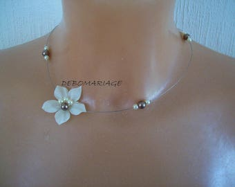 Bridal necklace wedding, bridesmaid, flower ivory silk, ivory pearls / brown chocolate night child woman
