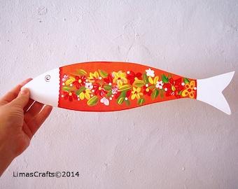 Home Decorative Fish,Colourful Fish Artwork,Wooden Decorative Fish,Nursery Decor Fish, Folk Art Fish