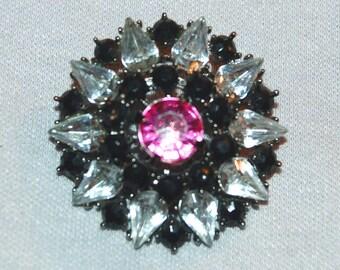 Large Rhinestone Brooch, Mauve Black Clear, Vintage  old jewelry