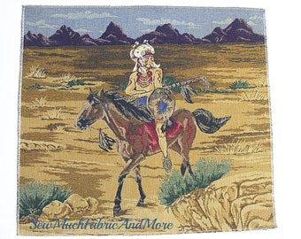 """Indian Warrior Tapestry Fabric Panel-16""""X18""""-Southwestern-Horse"""