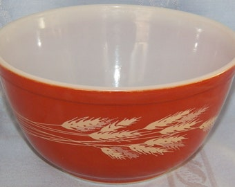 Vintage Pyrex Autumn Harvest # 402 Mixing Bowl 1.25 Quarts