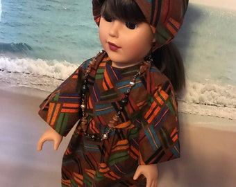 African dress, necklace and turban for 18 inch or American girl doll