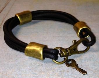 Black Metallic Leather Bracelet with Key Charm