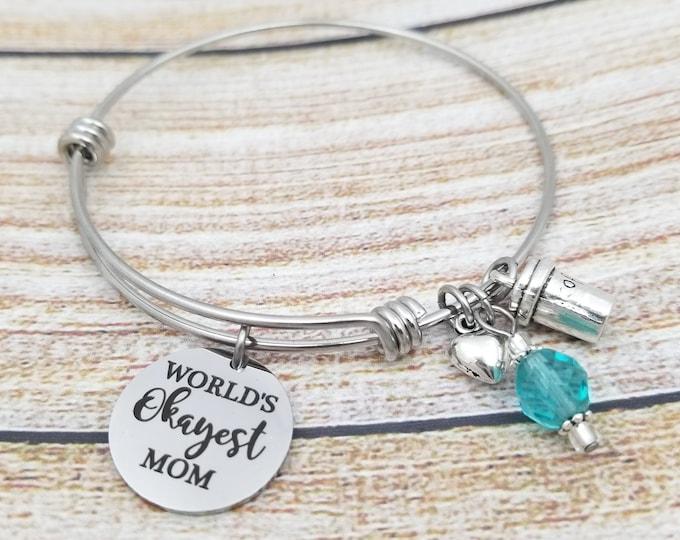 Worlds Okayest Mom Customizable Expandable Bangle Charm Bracelet, mother bracelet, OK mom, gift for mom