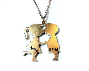 Initial / Name Necklace: kissing kids charm with customized hand stamped text