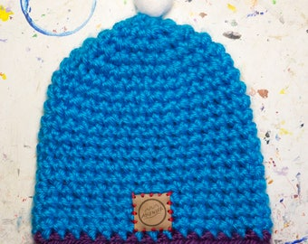 Blue hand crocheted beanie- Ascensor - Free shipping