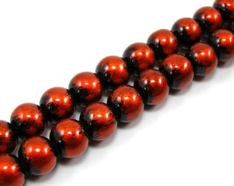 Set of 20 10 mm painted glass beads orange