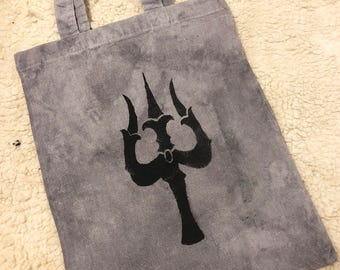 Plant dyed Shiva trishula small tote bag