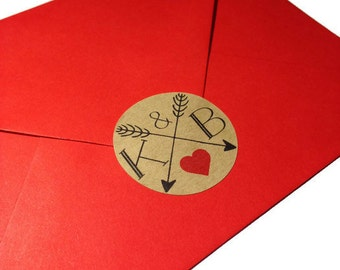 24 x Custom wedding stickers, initial wedding stickers, rustic wedding stickers, wedding envelope seals, personalised envelope seals, 016