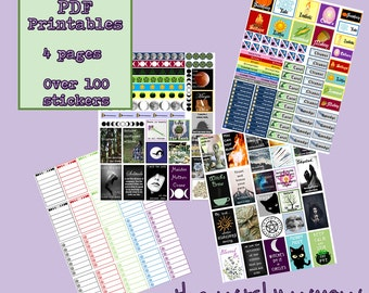 100+ Pagan Witch Planner Stickers- PRINTABLE PDF