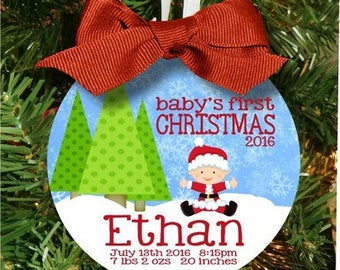 Baby Boys First Christmas Ornament, Babys First Christmas Ornament, Personalized Ornament, Baby Brother Gift, New Brother Gift