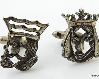 Vintage Cufflinks King and Queen Figural Silver Tone