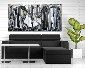 Large Abstract ORIGINAL Painting, Black Painting, Black Line Painting, Abstract Ink Painting, Black Painting, Black and White Abstract 60x30