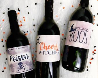 Halloween Wine Labels 3-Pack Printable