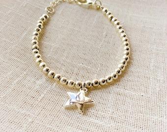 Beaded bracelet, silver bracelet, boho style, skinny bracelet, layering bracelet, girlfriend gift, gift for her, wedding jewellery