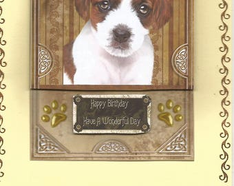 Animals, 3d card, handmade, animal category: dogs - birthday, thank you, get well, retirement, party, puppies, dogs