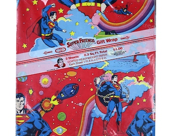 Vintage Superman Wrapping Paper Sheet, Vintage Gift Wrap, Happy Birthday, Super Friends, DC Comics, 1970s, Red, Blue, Rainbow, Mid Century