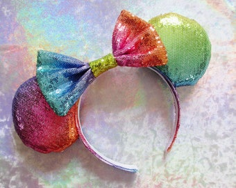 Rainbow Sequin Mouse Ears Headband