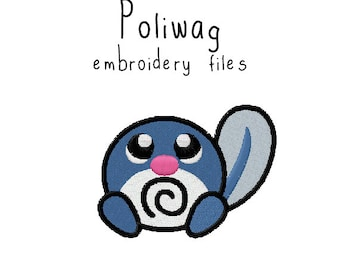 Pokemon Poliwag EMBROIDERY MACHINE FILES pattern design hus jef pes dst all formats Instant Download digital applique kawaii cute