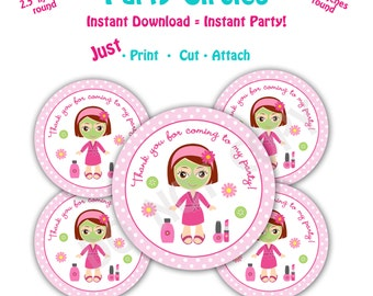 Spa Birthday Party Favor Tags -- Instant Download -   Printable Spa Party Circles -- Brown Hair