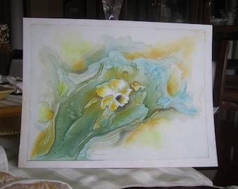 DAFFODIL DREAMS - Watercolor on Yupo Paper