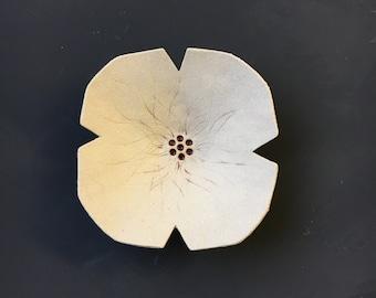 Ceramic poppy sculpture Cream textured pottery bowl flowers Wedding birthday gift for women for her mom hostess goddaughter