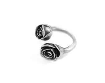 silver roses open ring