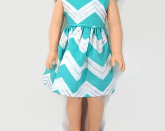 Turquoise, White, and Silver Chevron Dress - Made to Fit 14.5 Inch Dolls Like Wellie Wisher Doll Clothes