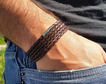 Men Leather Bracelet, Mens Bracelet, Leather Bracelet, Wrap Leather Bracelet, Brown Leather Bracelet, Men's Leather Bracelet, Gift for Men