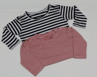 Striped T-shirts, elastic cotton with clasps on shoulder or neck, handmade baby clothes