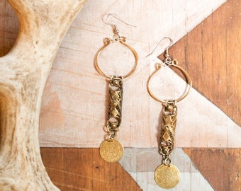 Brass Filigree Boho Tribal Vintage Art Nouveau Earrings