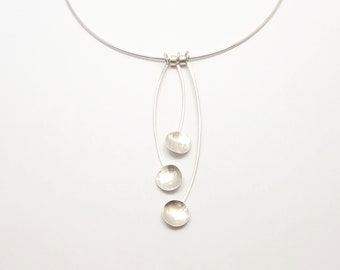 Three Small Circles Handmade Necklace - Geometric Silver Necklace - Sterling Silver 925 - SULU Necklace - GEO COLLECTION