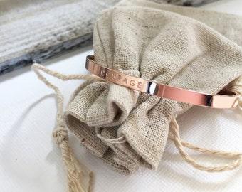 Personalized Cuff Bracelet, Monogram Rose Gold Cuff Bracelet, Inspirational Cuff, Personalized Gift, Bridal Jewelry, Coordinate Jewelry