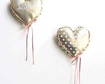 Duo of balloons hearts gold plated, customizable.
