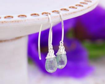 Moss Aquamarine Earrings, Green Gemstone Threader Marquise Earrings, Sterling Silver Gold Filled Earrings, March Birthstone