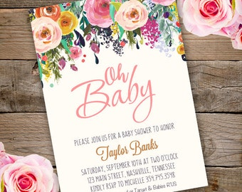 Whimsical Oh Baby Shower Invitation, girl baby shower invite, baby shower, floral baby shower, watercolor baby shower invitation