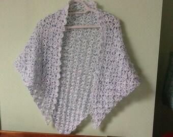 Lacy Shawl Wrap, Lacy Cover Up, Yarn Cover Up, Poncho with Spots, Speckled Poncho Wrap, Wedding Shawl Wrap, Bridal Shawl Wrap