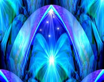 "Abstract Blue Chakra Art, Energy Art Print  ""The Doorway"""