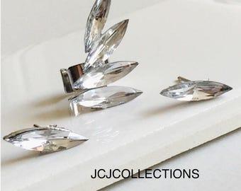 Silver stud CZ Earring, Ear Cuff Earrings