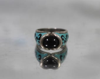 925 - Vintage Onyx and Blue & Black Enamel Abstract Design in Sterling Silver